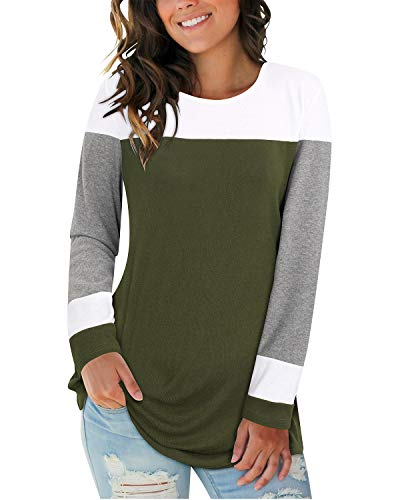 II ININ Women Long Sleeve Patchwork Color Block Round Neck Basic Tunic Casual Blouse Tops T Shirt(White/Gray/Army Green/Small)