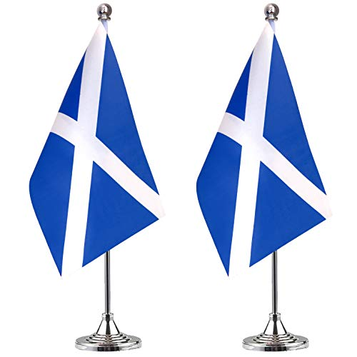 Scotland Desk Flag Small Mini Scottish Office Table Flag with Stand Base,Scottish Themed Party Decorations Celebration Event,2 Pack
