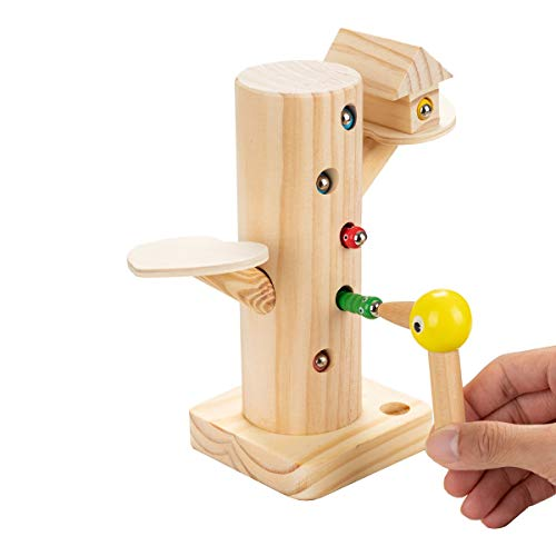 Locisne Pädagogisches hölzernes magnetisches Vogelwurm Spielzeugspiel Lernen entwickeln kognitives physisches magnetisches Spaßspielzeug