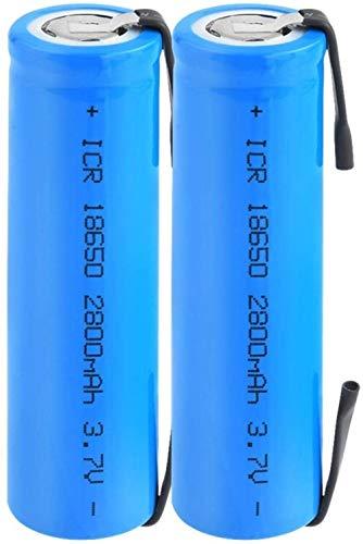 Batería De Iones De Litio 3.7V 18650 2800Mah Icr Batería De Litio Recargable con Pestañas para Linterna Frontal Portátil 2 Uds