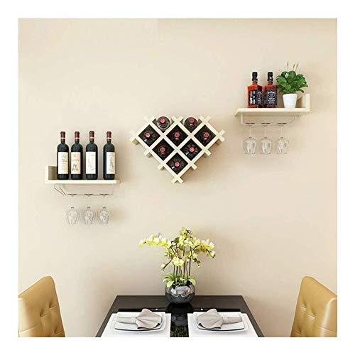 Portabottiglie da Vino Portabottiglie in Legno Massello for Uso Domestico, Mensola A Muro può Essere Appesa Sei Calici Portabicchieri da Vino dal Design Innovativo GMING (Color : B)