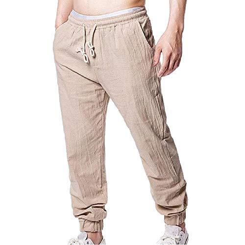 Spring - Pantalones de lino para hombre, finos, transpirables, holgados, para hombre, ultrafinos, pequeños, pantalones casuales Verde caqui XL