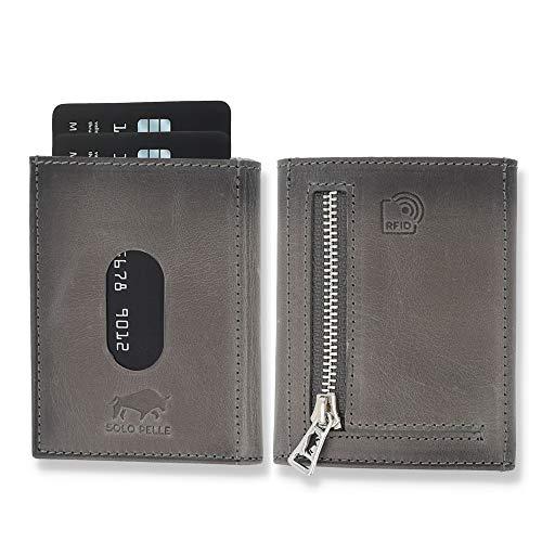 NEU: SOLO PELLE® Slim Wallet mit Münzfach [12 Karten] Slimwallet Riga [RFID-Schutz] Kartenetui mit Münzfach [Leder] Smart Wallet für Männer und Damen (Steingrau)