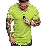 Camisetas Hombre Manga Corta Baratas SHOBDW 2019 Blusas Color Sólido Cómodo Tallas Grandes Tops Verano Camisetas Hombre Basicas Cuello Redondo Venta de liquidación M-3XL(Verde 2,L)