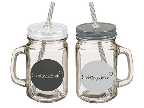 Out of the Blue Precioso juego de vasos de 2 piezas con aspecto de tarro de cristal con cierre de metal y pajitas.