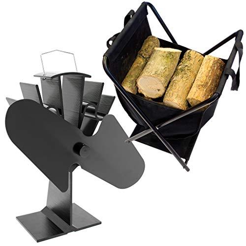Valiant Wärmebetriebener Ofenventilator und Holzkorb im Doppelpack