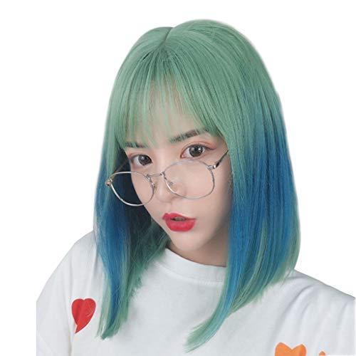 Perruques Lady Cheveux Raides Et Longs Et Droits Ensembles Coiffure Anime Gradient Poudre Vert Cheveux Longs Personnalité Non Dominante Parti De Jeux De Rôle Perr