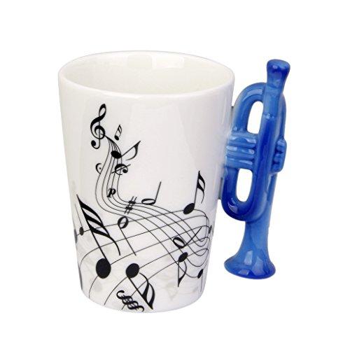 Gazechimp Musik-Becher Tasse Mit Musikinstrument-förmigen Griff aus Porzellan, Kreative Geschenk - Trompeten 2