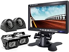 eRapta Backup Camera 2.0 with Monitor for RV Truck Trailer Box Tractor 5th Wheel Split Screen Back Up Reversing Parking Backing Rear and Side Wired Camera 4 Channels ER0202