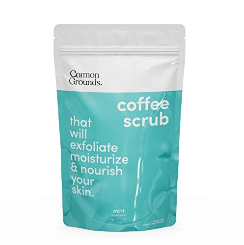 Coffee Body and Face Scrub (Mint) - 100% Natural Arabica Best Exfoliating, Acne, Anti Cellulite, Stretch Marks, Varicose Vein Wash & Eczema Treatment. Dead Skin and Moisture Care. Made in Brooklyn