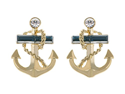 Alilang Golden Tone Blue Clear Crystal Rhinestones Nautical Anchor Stud Earrings