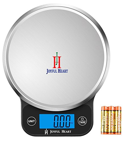 Digital Food Scale Kitchen Weight Scale - Joyful Heart Multifunction Postal Scale Backlit LCD Display 1g to 13lbs 1Yr Warranty Batteries Included Black