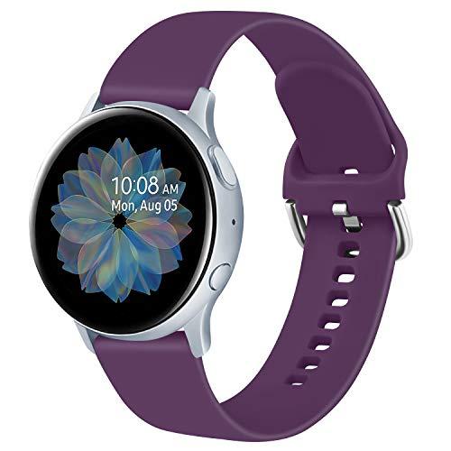 Yandu 20mm Cinturino Compatibile per Samsung Galaxy Watch Active 2 40mm/44mm, Cinturini Sportiva in Silicone per Samsung Galaxy Watch 42mm/ Watch 3 41mm/ Gear Sport (S, Viola Scuro)