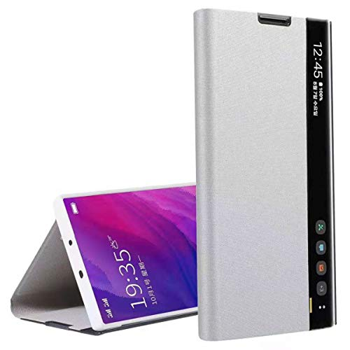 Oihxse Coque Compatible pour Samsung Galaxy Note 10 Plus Cover Clear View Flip Translucide Standing 360°Protection Ultra Mince Cuir PU Etui Anti-Rayures Antichoc Housse Bumper (Argent)