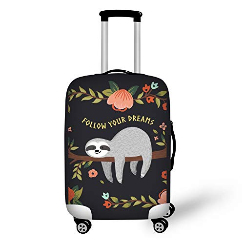Showudesigns'Follow Your Dreams'Printing Luggage Cover Suitcase Protector Cover Spandex Sloth Flower Track Case Cover Size M