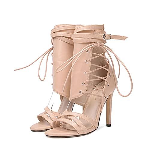 YLSC Moda Donna Scarpe con Tacco Scavate Open Toe Sandali Estivi Leggeri Cinturini Incrociati Sandali Traspiranti di Grandi Dimensioni,Khaki-38