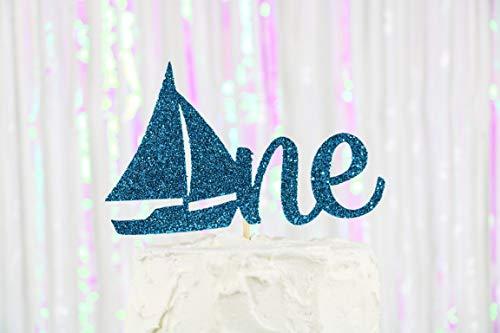 Een Taart Topper, 1 Taart Topper, Zeilboot Taart Topper, Nautische Verjaardag Decor, Eerste Verjaardag Topper, Eerste Verjaardag Party Decor, Smash Cake