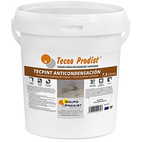TECPINT ANTICONDENSACIÓN de Tecno Prodist - (7,5 Litros) - Pintura Anti-condensación y Anti-moho al Agua para Interior y Exterior - Paredes y Techos -gran cubrición - Fácil Aplicación - (BLANC
