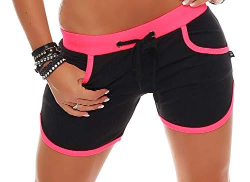 Gennadi Hoppe Damen Hot Pant Hotpants Fitness Shorts,schwarz/neon rosa,M