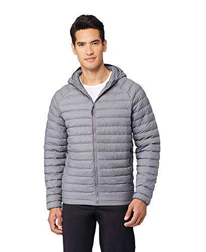 32 DEGREES Mens Ultra-Light Down Packable Hooded Jacket, Gunsmoke, Size Large