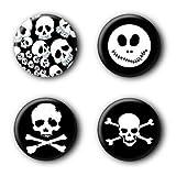 4 Totenkopf Skull Buttons Ansteckbuttons Buttonset Anstecker #1 (2,5cm) -