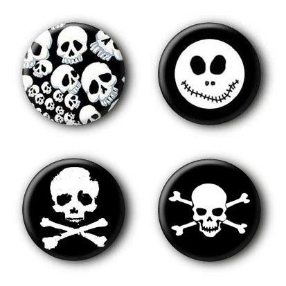 4 Totenkopf Skull Buttons #1 (2,5cm)