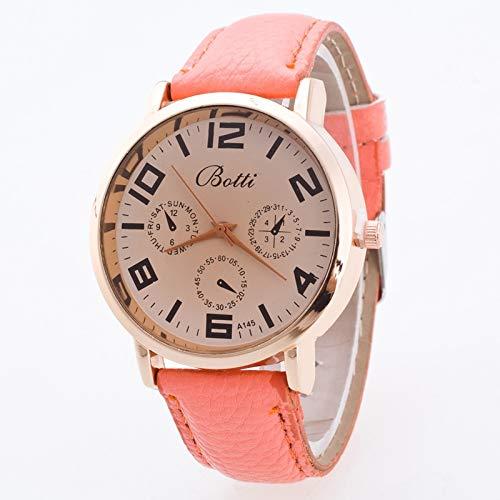 JZDH Relojes De Las Mujeres Señoras De La Manera De Cuarzo De Tres Observa El Reloj del Estudiante del Reloj Par Hombres Y Mujeres De La Correa Reloj Falso Ocasional Señora Reloj (Color : Pink)