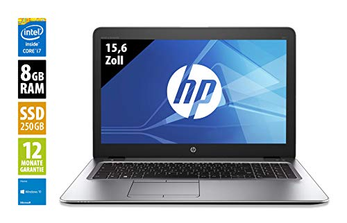 HP Elitebook 850 G3-15,6 Zoll - Core i5-6300U @ 2,4 GHz - 8GB RAM - 256GB SSD - WXGA (1366x768) - Win10Home (Zertifiziert und Generalüberholt)