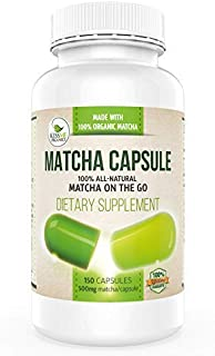 Organic Matcha Capsules - Powerful Antioxidant Energy Booster that Aids Focus - 150 Easy-to-swallow Vegan Green Tea Pills - High in EGCG - Organic Matcha - Not from Extract