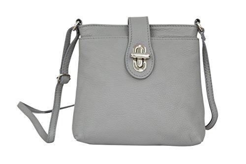 AMBRA Moda Damen echt Ledertasche Handtasche Schultertasche Umhängtasche Citybag Girl Crossover GL007 (Grau)