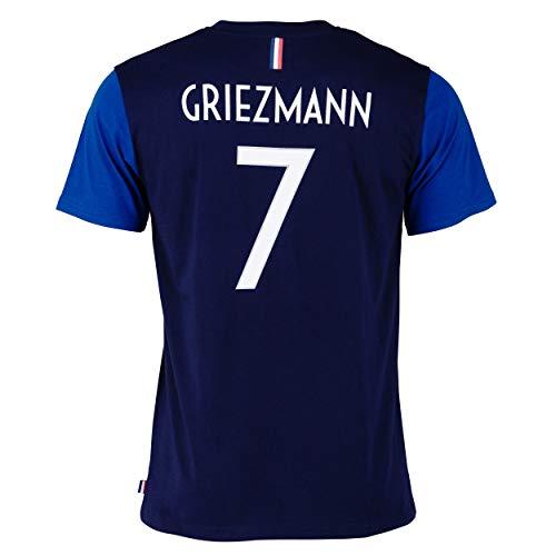 FFF T-Shirt –Antoine Griezmann –offizielle Kollektion der französischen Fußballnationalmannschaft –Erwachsenengröße, Herren S blau