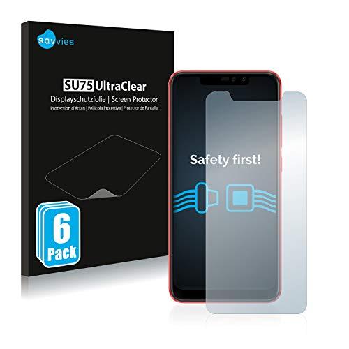 savvies Protector Pantalla Compatible con Xiaomi Redmi Note 6 Pro (6 Unidades) Pelicula Ultra Transparente