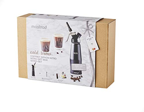 Mastrad Coffret Nitro Cold Brew-1 Siphon Aluminium 0,5 L + 10 Cartouches de Gaz + 3 Accessoires + 1 Brosse de Nettoyage + Livret de Recettes-Réalisez des Boissons Infusées à Froid-Noir