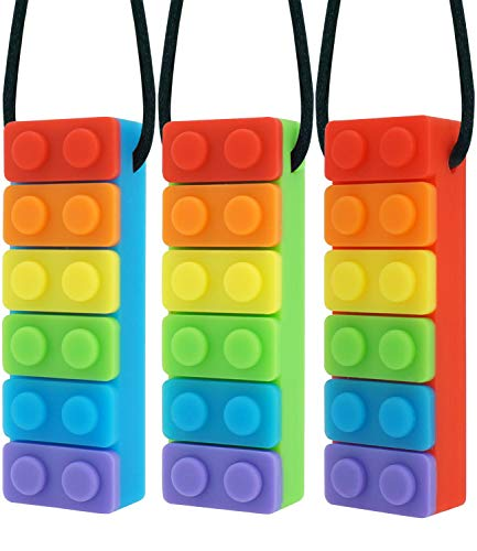 Panny & Mody Sensory Chew Necklaces Chewable Jewelry for Boys and Girls(3 Pack), Silicone Rainbow Pendant Sticks Autism Chewing Toys Set for Kids Oral Sensory Motor Aids