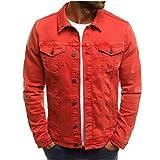 Chaqueta vaquera para hombre, estilo motero, chaqueta vaquera, chaqueta de entretiempo, para invierno, estilo vintage, para hombres D-naranja. XL
