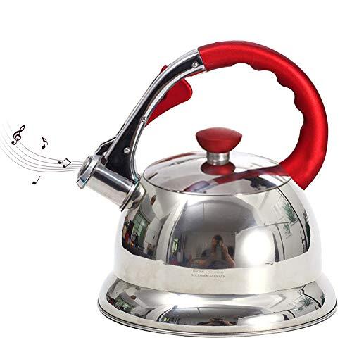 Stove Top Hervidor silbador, 3,5 L de acero inoxidable con mango aislante, jarra de agua plateada para cocina de inducción de gas (rojo)