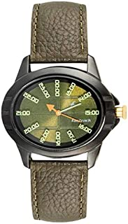 Fastrack Women's Green Dial Leather Band Watch - 6071NL02