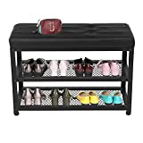 Shoe Bench, 3-Tier Shoe Rack for Entryway, Storage Organizer with Foam Padded Seat, Leather Bench Seat, Metal Frame, for Living Room, Hallway, Holds Up to 400 lb, 27.56' x 11.81' x 17.72', Black