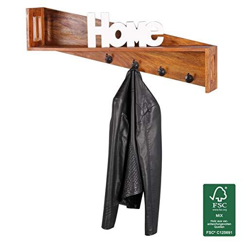 WOHNLING Wandgarderobe Massivholz Sheesham Design Wand-Paneel 87 cm Garderoben-Haken Wandregal Kleiderhaken Echt-Holz Höngegarderobe Natur-Produkt Klamottenhaken Holzregal zum Aufhöngen Unikat