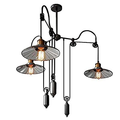 SUSUO Country Style Pulley Ceiling Pendent Light Adjustable 3-Heads Retro Wire Industrial Chandeliers Retractable Hanging Lighting