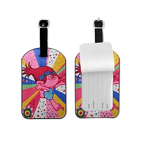 Trol-Ls Etiquetas de equipaje de cuero Personalizado Maleta Tag Set Etiquetas de identificación de equipaje Accesorios de viaje