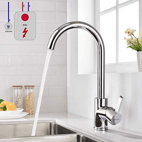 Niederdruck Wasserhahn Küche, WOOHSE 360° Drehbar Küchenarmatur Armatur Spültischarmatur Niederdruckarmatur Einhebelmischer Mischbatterie Messing Waschtischarmatur Hoher Auslauf für Waschbecken