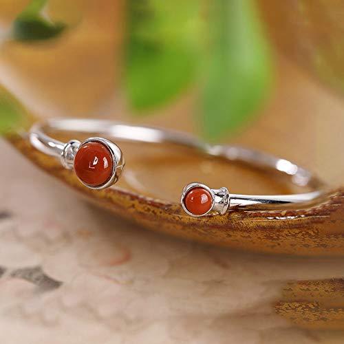 THTHT S 925 Silber Vintage Armband Für Frauen Männer Roter Achat Runde Perle Honig Simple Und Einfache Chinesischen Stil Persönlichkeit Kreative Schönen Charme Geschenk