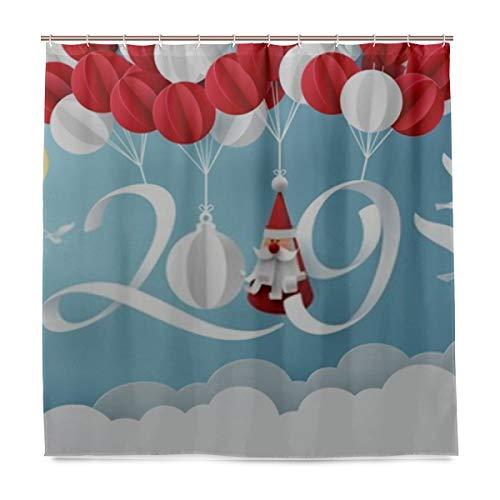 ZANSENG Duschvorhang, Papierkunst 2019, zum Aufhängen, Luftballon, mit Haken, Polyester, Bedruckt, dekorativer Badvorhang, modernes Badezimmerzubehör, 183 x 183 cm