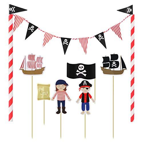 Amosfun Pirata Compleanno Cupcake Toppers Pirata Cake Topper Ghirlanda Involucro della Stamina per Compleanno Bambini Baby Shower Forniture per Torte per Feste