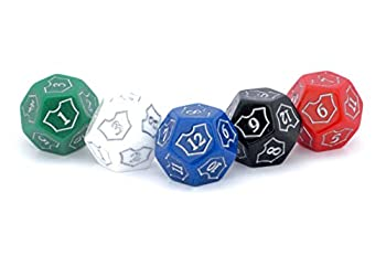 Hedral MTG D12 Spin-Down Loyalty Counter Dice 5 Die Set Red White Black Green Blue - Magic  The Gathering TCG CCG Planeswalker Multi-Color