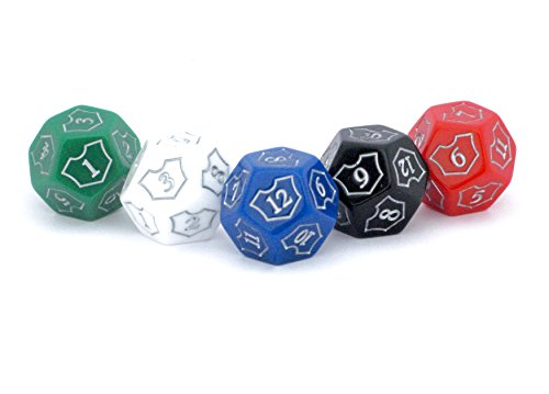 Hedral MTG D12 Spin-Down Loyalty Counter Dice 5 Die Set Red White Black Green Blue - Magic: The Gathering TCG CCG Planeswalker Multi-Color