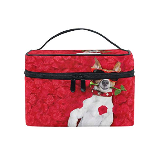 Bolsa de maquillaje, estuche de viaje portátil con diseño de rosa de San Valentín para niñas y mujeres
