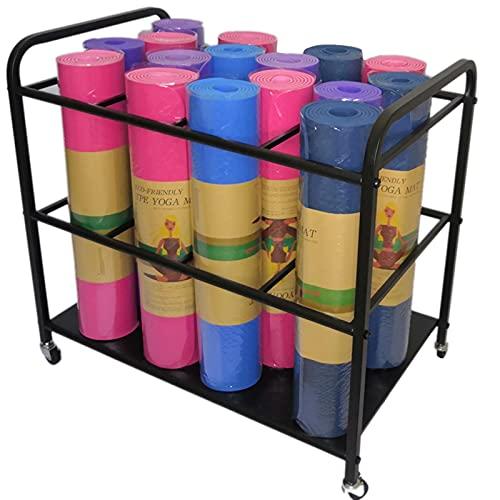 Estante de la Estera de Yoga Gimnasio Carro de Almacenamiento, Gran Metal Rodillos de Espuma Organizador para el Hogar y el Gimnasio, Los 80 × 50 × 70cm (Color : Black)