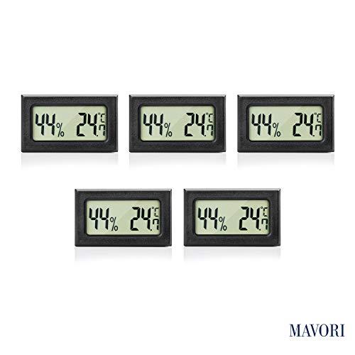 MAVORI® Digital Mini Innen Thermometer Hygrometer - Zimmerthermometer und Luftfeuchtigkeitsmessgerät für Wohn- und Büroräume, Keller, Terrarium, Auto - NEUES MODELL (5er Set)